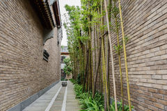 Bamboo in alley between Chinese taditional buildings Stock Photo