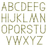 Bamboo alphabet. Bamboo textured capital letters set Royalty Free Stock Images
