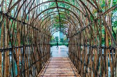Bamboo arc-shaped pass in Kowloon Park, Hong Kong. Bamboo arc-shaped bridge in Kowloon Park, Hong Kong Stock Photo