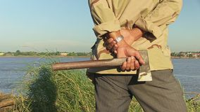 Bamboo, axe , mekong, cambodia, southeast asia stock footage