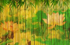 Bamboo background with lotus. Frame of bamboo background with lotus Royalty Free Stock Photo