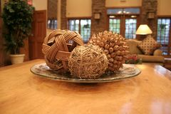 Bamboo Ball. And other bamboo stuff in nice decorated living room stock photo