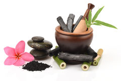 Bamboo and Bamboo charcoal powder. royalty free stock images