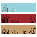 Bamboo banners. Set of three bamboo banners isolated on white background.EPS file available royalty free illustration