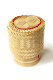 Bamboo basket. Asian wood basket in front of white background royalty free stock images