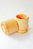Bamboo basket. Asian wood basket in front of white background stock photo