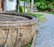 Bamboo basket boat for decoration at garden. In Phan Thiet, Vietnam Royalty Free Stock Image