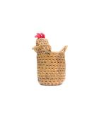 Bamboo basket a chicken on white background Royalty Free Stock Images
