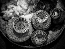 Bamboo Basket Creel Fish. Black&White tone Royalty Free Stock Photos