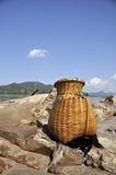 Bamboo Basket Creel Fish Sand River Stock Photo