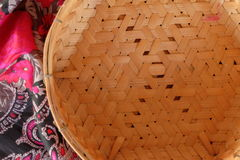 Bamboo basket design on vintage texture Royalty Free Stock Photography