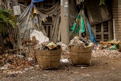 Bamboo Basket/ Garbage Can in Messy Dirty Junkyard - Abandoned Garden with Trash, Dry Branches and Wooden Board - Waste and stock photos