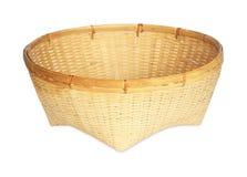 Bamboo basket handmade isolated on white background Royalty Free Stock Photos