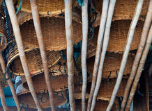 The bamboo basket hang on the bamboo Stock Photo