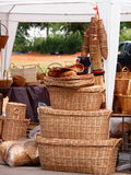 Bamboo basket and home accessories for sale Stock Image
