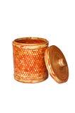 Bamboo basket isolated Stock Image