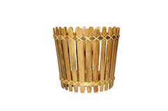 Bamboo basket isolated Royalty Free Stock Image