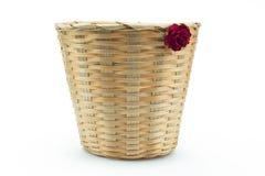 Bamboo basket isolated white background Stock Image