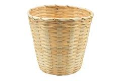 Bamboo basket isolated white background Stock Photos