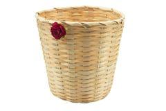 Bamboo basket isolated white background Stock Photo