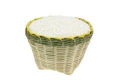 Bamboo basket. Isolated on white background Royalty Free Stock Photos
