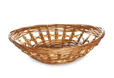 Bamboo basket isolated on white Royalty Free Stock Images