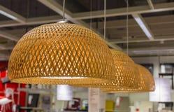 Bamboo basket lamp decorative Royalty Free Stock Photography