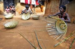 Bamboo basket maker and his family at rural bengal