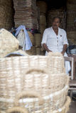 Bamboo basket manufacturer in Varkala, India Royalty Free Stock Image