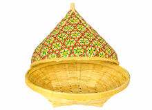 Bamboo basket with open lid Royalty Free Stock Photos