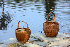Bamboo basket on riverside Royalty Free Stock Photography