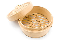 Bamboo basket steamer with open lid Stock Photo