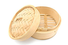 Bamboo  basket steamer with open lid Stock Photos