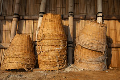 Bamboo basket use for container object to harvest natural sea sa Royalty Free Stock Photo