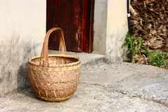 Bamboo basket in village Royalty Free Stock Photo