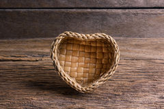 Bamboo basket, Wicker basket of  Heart Shape Stock Photography