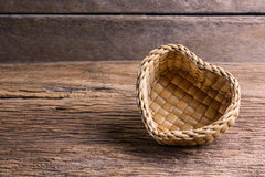 Bamboo basket, Wicker basket of  Heart Shape Royalty Free Stock Image