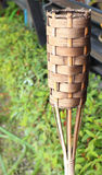 Bamboo basketry candle Royalty Free Stock Images