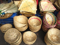 Bamboo Baskets. Beautiful handmade bamboo stick baskets for sale in indian market Royalty Free Stock Images