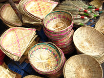 Bamboo Baskets. Handmade bamboo baskets for sale in indian market Royalty Free Stock Image