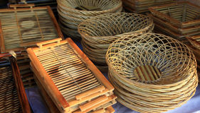 Bamboo baskets Stock Photo