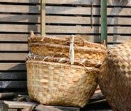 Bamboo baskets at market in Yangon, Myanmar Stock Photo