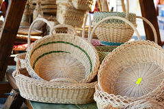 Bamboo baskets for sale Stock Photography