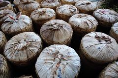 Bamboo baskets. Stock of food wrapped in leaves bamboo baskets Royalty Free Stock Image