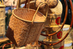 Bamboo baskets on street side sales Stock Photography