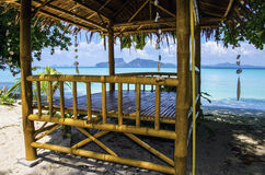 Bamboo beach shelter Stock Photo