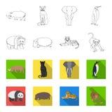 Bamboo bear, hippopotamus, wild animal tiger, monkey . Wild animal set collection icons in outline,flet style vector Stock Photo