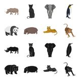 Bamboo bear, hippopotamus, wild animal tiger, monkey . Wild animal set collection icons in black,cartoon style vector. Symbol stock illustration Royalty Free Stock Photos