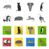 Bamboo bear, hippopotamus, wild animal tiger, monkey . Wild animal set collection icons in monochrome,flat style vector Stock Photos
