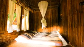 Bamboo Bedroom resort style Building Relax for sleep stock photos